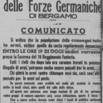 Comunicato del Comando delle forze germaniche a Bergamo dell'11 settembre 1943 che intima la consegna delle armi e introduce il coprifuoco