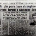 """Ricordo della fucilazione di A. Sprochia e Turani scritta da don Spada su """"L'eco di Bergamo"""" 24 aprile 1955"""
