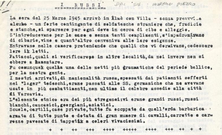 """""""I russi"""", f.to Pietro Morandi, Almè con Villa, 12 aprile 1946"""