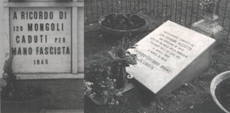 Cimitero di Nese. A sinistra il loculo dove furono raccolti i resti degli oltre cento soldati uccisi. A destra la lapide posta sulla fossa comune dove furono raccoltini resti degli otto soldati fucilati alla Busa