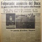 """Prima pagina del """"Corriere della Sera"""", 11 giugno 1940"""