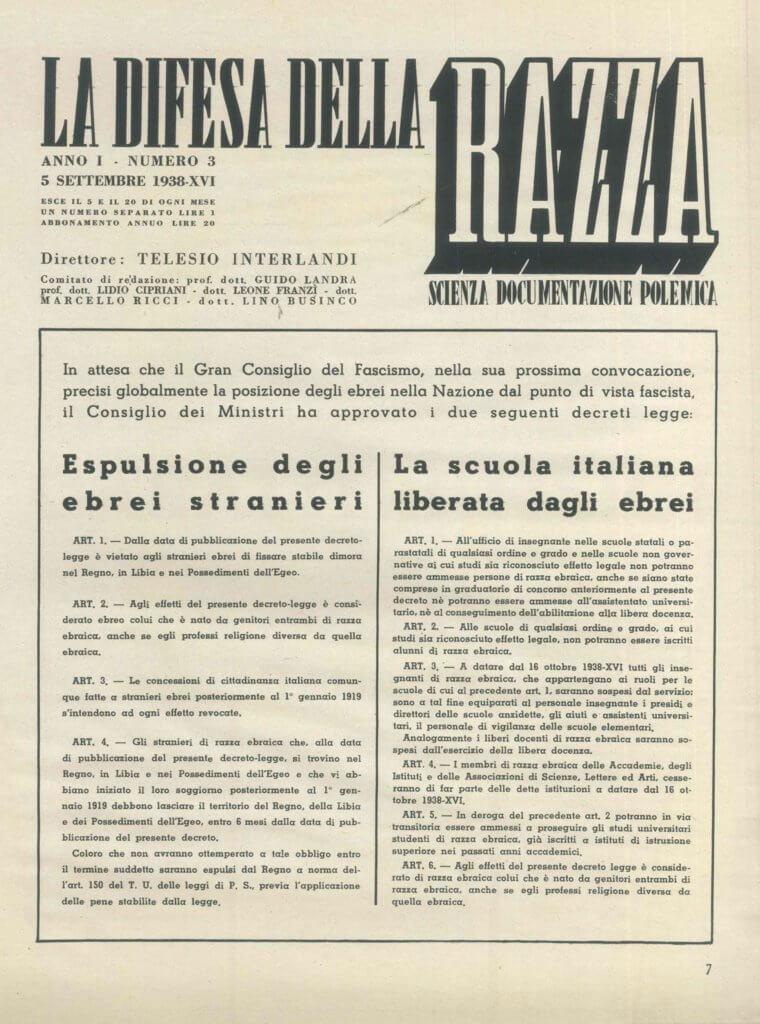 """""""La difesa della razza"""", 5 settembre 1938"""