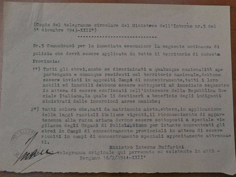 La circolare di Guido Buffarini Guidi, per gentile concessione dell'Archivio di Stato