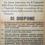 Comunicato del 13 settembre 1943 firmato dal prefetto di Bergamo Giannitrapani e dal Comandante delle Forze armate tedesche Bassenge