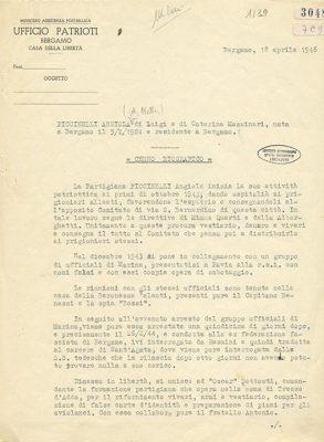 Relazione dell'Ufficio Patrioti sull'attività partigiana di Angiola Piccinelli, Bergamo 18 aprile 1946