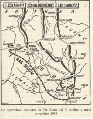 La mappa si trova in: Angelo Del Boca, La guerra d'Abissinia 1935-1941, Feltrinelli, Milano 1965, p. 47