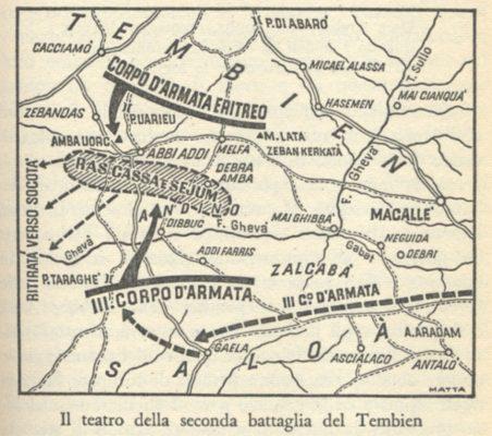 La mappa si trova in: Angelo Del Boca, La guerra d'Abissinia 1935-1941, Feltrinelli, Milano 1965, p. 127