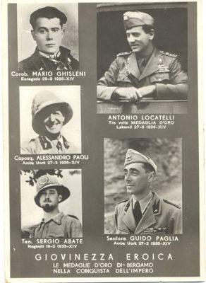 Cartolina postale celebrativa delle medaglie d'oro di Bergamo conferite ai caduti nella Guerra di Etiopia, tra cui il tenente Sergio Abate