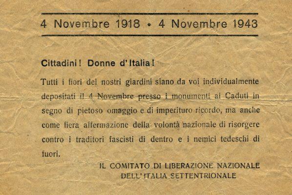 Volantino per la mobilitazione del IV Novembre 1943