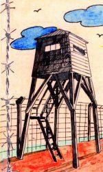 Disegno della torretta del campo di prigionia conservato da Rimero Chiodi