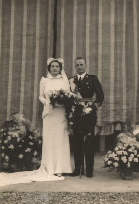 Lia Battaggion nel giorno del suo matrimonio con Cesare Bonino