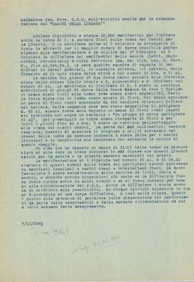 Relazione dei Gruppi di difesa della donna sulla manifestazione ai Caduti per la libertà organizzata per il 4 novembre 1944, datato in modo errato 7 novembre 1943 ma in realtà 1944