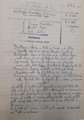 Una sentenza del 1944 per reato di furto di carbone dal registro del Tribunale di Bergamo, per gentile concessione dell'Archivio di Stato di Bergamo