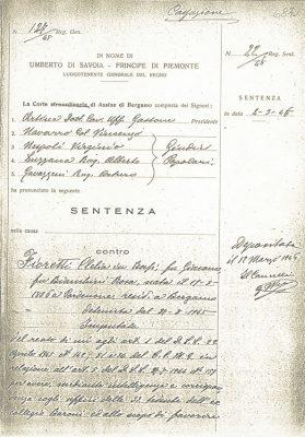 Prima pagina della Sentenza della  Corte d'assise di Bergamo contro Clelia Fioretti in Bossi, 4 marzo 1946