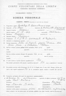 Prima pagina della Scheda CVL di Emanuele Medolago Albani
